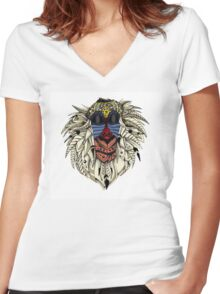 Ornate Color Rafiki Women's Fitted V-Neck T-Shirt