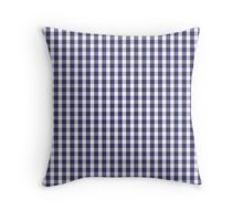 USA Flag Blue and White Gingham Checked Throw Pillow