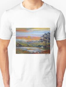 The sun sets in the west along the Lancefield-Woodend Road Unisex T-Shirt