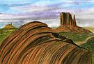 134 - MONUMENT VALLEY, U.S.A. - DAVE EDWARDS - WATERCOLOUR - 2004 by BLYTHART