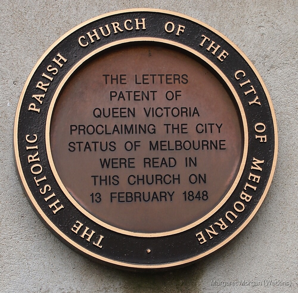 Plaque on St Peter's Church Eastern Hill Vic Australia by Margaret Morgan (Watkins)
