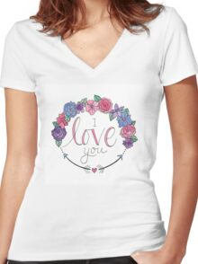 I Love You Women's Fitted V-Neck T-Shirt