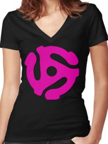 45 rpm record adaptor, neon pink and black Women's Fitted V-Neck T-Shirt