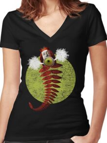 Authority Figure Hot Air Balloon Women's Fitted V-Neck T-Shirt