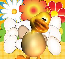 Easter Card With Chick Half Out Of Egg And Eggs by Moonlake