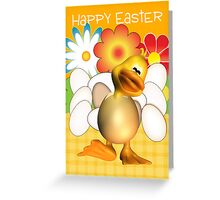 Easter Card With Chick Half Out Of Egg And Eggs Greeting Card