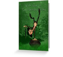 St. Patrick's Day Cards Leprechaun And Scenery  Greeting Card
