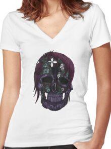 Plant Skull (3) Women's Fitted V-Neck T-Shirt