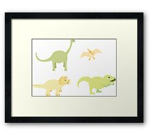 Diplodocus, Pterodactyl,Pterodactyl and T-Rex Framed Print
