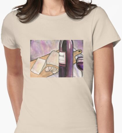 Wine and Cheese Tonight Womens Fitted T-Shirt
