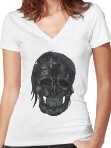Plant Skull (4) Women's Fitted V-Neck T-Shirt