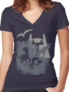 Welcome to Jurassic World  Women's Fitted V-Neck T-Shirt