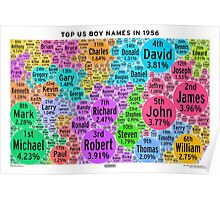 Top US Boy Names in 1956 - White Poster