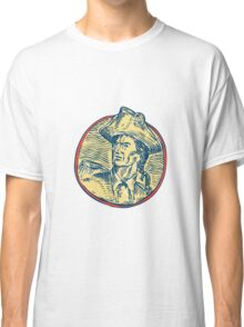 American Patriot Side Circle Etching Classic T-Shirt