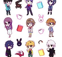 Tokyo Ghoul Chibi Characters  by loltias