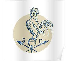 Rooster Cockerel Crowing Weather Vane Etching Poster