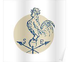 Rooster Cockerel Crowing Weather Vane Etching Poster
