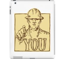 Construction Worker Pointing You Etching iPad Case/Skin