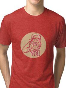 Santa Claus Needs You Pointing Etching Tri-blend T-Shirt