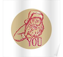 Santa Claus Needs You Pointing Etching Poster