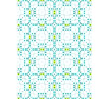 Turquoise Blue & White Geometric Abstract Design Photographic Print