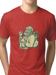 Santa Claus Pointing Side Etching Tri-blend T-Shirt