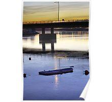 Frozen boat, setting sun Poster