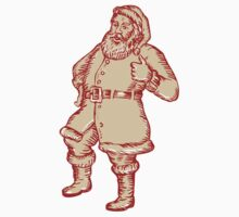 Santa Claus Father Christmas Thumbs Up Etching by patrimonio