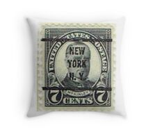Antique Black NYC Stamp Throw Pillow