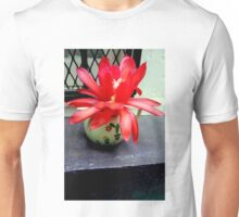 Red Cactus Flowers, Top Step Unisex T-Shirt