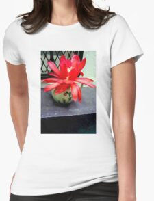 Red Cactus Flowers, Top Step Womens Fitted T-Shirt