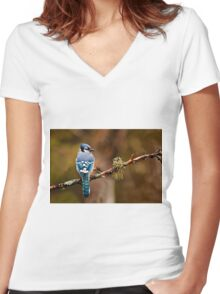 Blue Jay On Branch Women's Fitted V-Neck T-Shirt