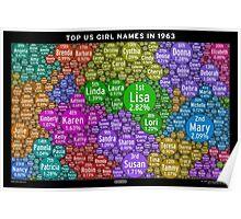 Top US Girl Names in 1963 - Black Poster