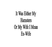 It Was Either My Hamsters Or My Wife I Mean Ex-Wife  by supernova23