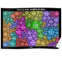 Top US Girl Names in 1964 - Black Poster