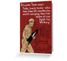 Private Tom -- World War Two Poster Greeting Card