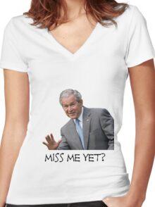 Miss Bush Yet? Women's Fitted V-Neck T-Shirt