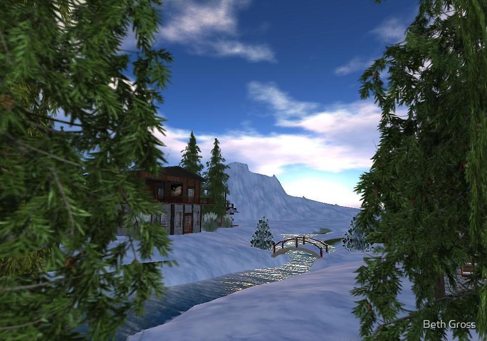 Snow Scene at Tahoa Mountain Ski Resort by elsbethwriter