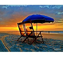 Beach Chairs & Umbrella Sunrise Photographic Print