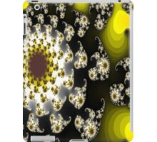 Black and White Floral Fractal with Gold and Green iPad Case/Skin
