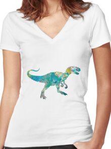 Dinosaur Women's Fitted V-Neck T-Shirt