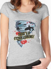Shark Tornado - Shark Cult Movie - Shark Attack - Shark Tornado Horror Movie Parody - Storm's Coming! Women's Fitted Scoop T-Shirt