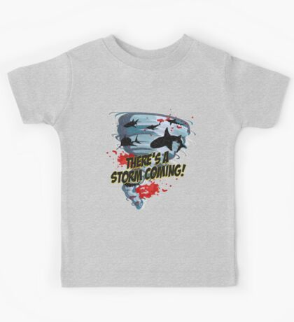 Shark Tornado - Shark Cult Movie - Shark Attack - Shark Tornado Horror Movie Parody - Storm's Coming! Kids Tee
