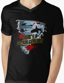 Shark Tornado - Shark Cult Movie - Shark Attack - Shark Tornado Horror Movie Parody - Storm's Coming! Mens V-Neck T-Shirt
