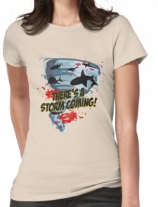 Shark Tornado - Shark Cult Movie - Shark Attack - Shark Tornado Horror Movie Parody - Storm's Coming! Womens Fitted T-Shirt