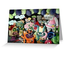 Yeti and Monsters having a party! Greeting Card