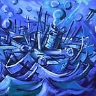 Boat Descending a Staircase - Acrylic on Canvas by Matt Bissett-Johnson