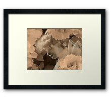 Fairy and Echoed/Ghosted Roses in Sepia – February 11, 2010 Framed Print