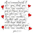 Inspirational verse Love one another calligraphy by Melissa Goza