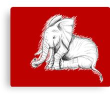 Cute baby elephant holding flower Canvas Print